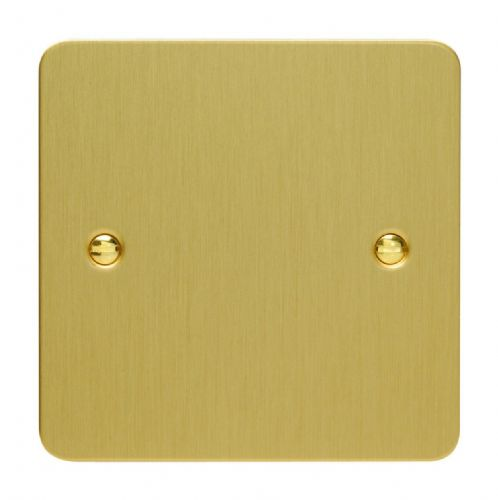 Varilight XFBSB Ultraflat Brushed Brass 1 Gang Single Blank Plate